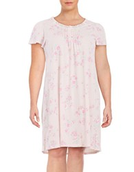 Miss Elaine Plus Floral Print Flutter Sleeve Nightgown Peach