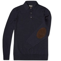 Barbour X Land Rover Long Sleeve Eastnor Polo Navy