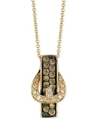 Le Vian White Diamond Accent And Chocolate Diamond 1 2 Ct. T.W. Buckle Pendant Necklace In 14K Gold