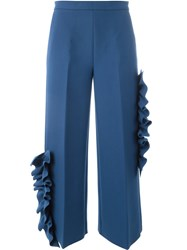 Msgm Ruffle Applique Trousers Blue