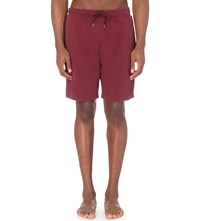 Derek Rose Devon Marl Cotton Jersey Shorts Burgundy