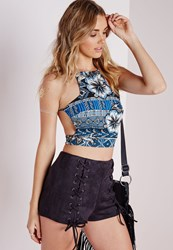 Missguided Aztec Print Crop Top Teal