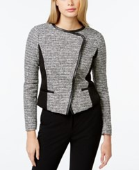 Calvin Klein Cropped Faux Leather Trim Jacket