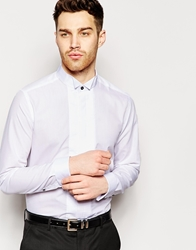 Asos Smart Tux Shirt With Contast Wing Collar And Double Cuff White