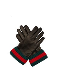 Gucci Striped Knit And Leather Gloves Black Multi