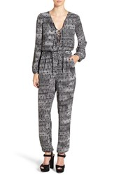 Leith Women's Long Sleeve Lace Up Jumpsuit Black Dot Print