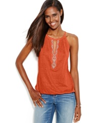 Inc International Concepts Beaded Keyhole Linen Halter Top Indian Orange
