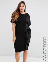 Asos Curve Pencil Wiggle Dress With Waterfall Front Black
