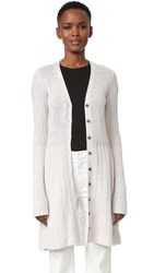 Derek Lam Flared Cashmere Cardigan With Bell Sleeves Grey Melange