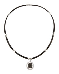Alor 18K Black And White Diamond Micro Cable Oval Pendant Necklace Women's