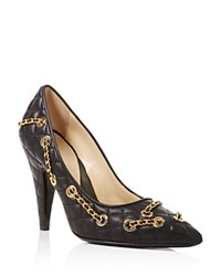 Moschino Quilted Pointed Toe Chain Trim Pumps Black