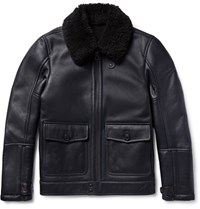 Dunhill Hearling Aviator Jacket Navy