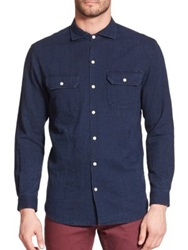 3X1 Selvedge Denim Sportshirt Dark Blue