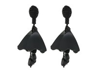 Oscar De La Renta Mini Impatiens Flower Drop C Earrings Black Earring