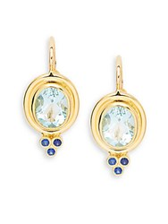 Temple St. Clair Faceted Aquamarine Blue Sapphire And 18K Yellow Gold Classic Oval Earrings