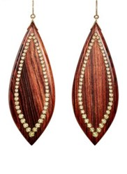 Mark Davis Women's Studded Marquise Shaped Drop Earrings Brown