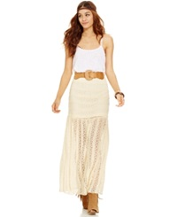 American Rag Belted Lace Skirt Natural