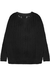 Rick Owens Open Knit Cotton Blend Sweater Black