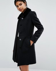 Oasis Faux Fur Collared Swing Coat Black