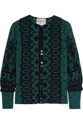 Sea Broderie Anglaise Cotton Blouse Forest Green