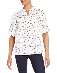 Ivanka Trump Patterned Button Front Shirt White Black