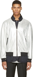 3.1 Phillip Lim Silver Metallic Leather And Navy Blazer Double Jacket