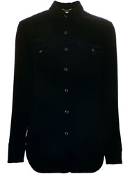 Saint Laurent Velvet Western Shirt Black