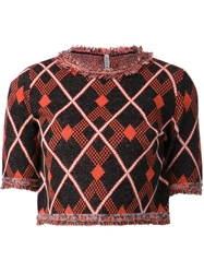 Aimo Richly Crop Tweed Sweater Yellow And Orange