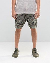 Asos Slim Cargo Shorts In Linen Mix Washed Camo Khaki Green