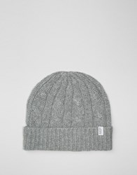 Selected Homme Beanie In Cable Knit Grey