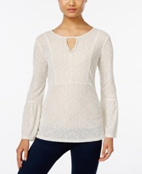Styleandco. Style Co. Velvet Patterned Keyhole Top Only At Macy's Warm Ivory