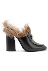 Gucci Shearling Lined Leather Mules Black
