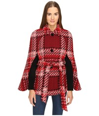 Kate Spade Chunky Plaid Cape Red Multi Women's Clothing
