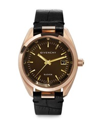 Givenchy Eleven Rose Goldtone Stainless Steel And Crocodile Embossed Leather Strap Watch Rose Gold Brown