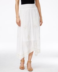 Styleandco. Style And Co. Embroidered Handkerchief Hem Midi Skirt Only At Macy's White