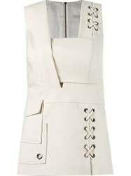 Giuliana Romanno Sleeveless Fitted Blouse White