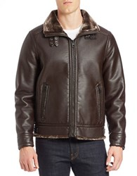 Guess Faux Fur Lined Bomber Jacket Brown