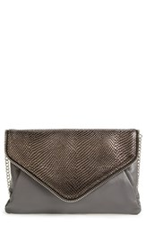 Halogen Leather Envelope Clutch Grey Grey Pewter Snake