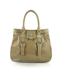 Buti Large Grained Leather Tote Bag Beige