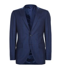 Harrods Of London Tailored Overcheck Jacket Male Blue