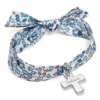 Merci Maman Believe Sterling Silver Cross Charm Liberty Bracelet Blue