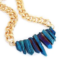 Shh By Sadie Rocked Up Crystal Quartz Necklace Gold