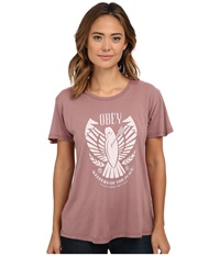Obey Keepers Of Peace Thrift Tee Dusty Ash Rose Women's T Shirt Brown