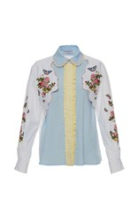 Vivetta Embroidered Floral Grizzly Shirt Blue