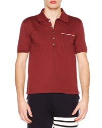 Thom Browne Short Sleeve Pique Polo Shirt Burgundy Red Men's