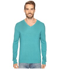 Calvin Klein Cotton Modal V Neck Sweater Blue Grass Heather Men's Sweater