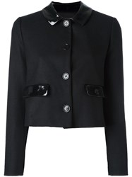 Love Moschino Cropped Buttoned Jacket Black