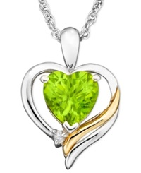 Macy's 14K Gold And Sterling Silver Pendant Peridot 1 1 3 Ct. T.W. And Diamond Accent