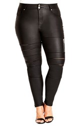 Plus Size Women's City Chic 'Wet Mesh' Stretch Skinny Jeans Black