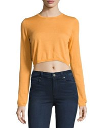 Todd And Duncan Cashmere Long Sleeve Crop Top Orange
